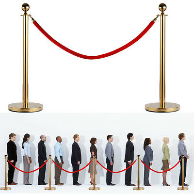 2pcs Red Velvet Rope Stanchion Gold Color Plated Post Crowd Control Queue Pole