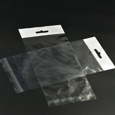 """Clear Resealable Cello Cellophane Bag Poly with Hang Hole Tag Flap Sleeve 9""""x4"""""""
