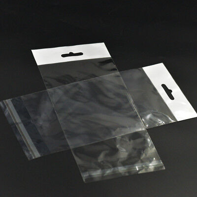 Clear Resealable Cello Cellophane Bags Poly with Hang Hole Tag Flap Sleeve 230mm