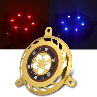 12V LED Motorcycle Fan Cover w/ Decor Flashing Light for GY6 100/125/150cc Gold