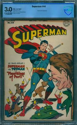 Superman # 44  Playthings of Peril !  CBCS 3.0  scarce Golden Age book !