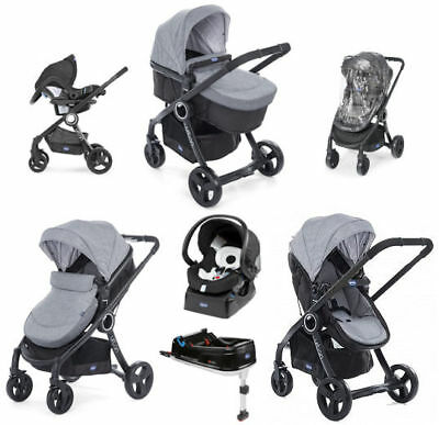 Chicco Urban Plus Travel System Legend Pram / Pushchair Mode With Isofix Base
