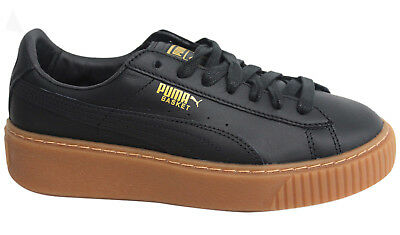 Puma Basket Platform Core Lace Up Black Leather Womens Lo Trainers 364040 02 D8
