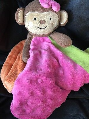 KOALA BABY Babies R Us Pink  Floral  MONKEY Bow Lovey Plush Blanket Toy HTF
