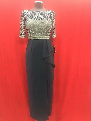 Adrianna Papell Gown/mother Of Bride/retail$279/size 6/navy With Silver Beads