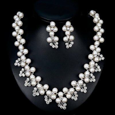 Prom White K Plated Crystal Pearl Necklace Earrings Wedding Bridal Jewelry Set