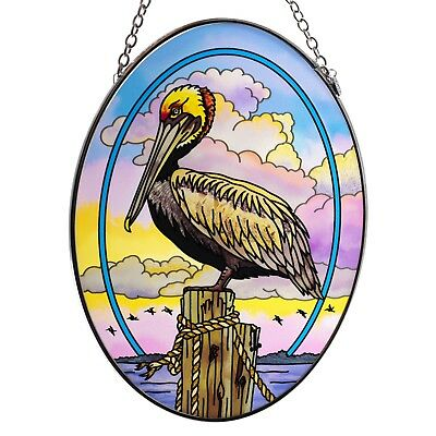 "Pelican Suncatcher Hand Painted Glass By AMIA Studios 7"" x 5"""