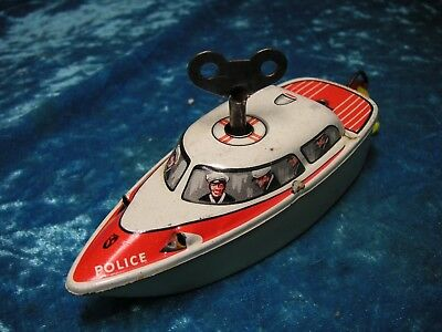 Pennytoy Michael Seidel MS Boot Uhrwerk Police Germany Top Tin Ship Tole Latta