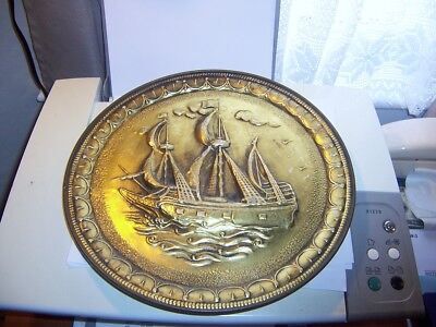 Sunshine Biscuits  vintage gilt tin Sailing Ship Large Round Wall plaque Lid 3D