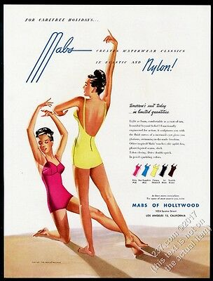 1946 Mabs of Hollywood women's one-piece swimsuit illustrated vintage print ad