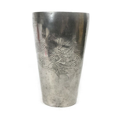 """Antique 1800's Chinese Pewter Kut King Swatow Cup w/ Dragon Design 7.25"""""""