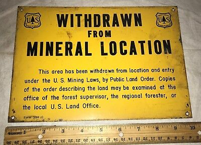 Antique Tin Litho Mineral Sign Forest Service Dept Agriculture U.s. Mining Laws