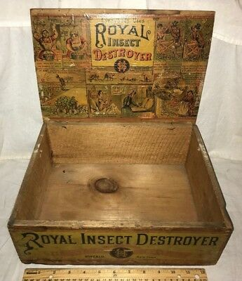 Antique Royal Insect Destroyer Poison Country Store Display Box Bedbug Held Tin