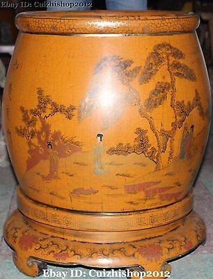 "26""Chinese Palace Wood lacquerware lacquerwork Belle Round Brush Pot pencil vase"