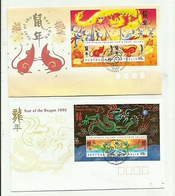 1996  + 2000 CHRISTMAS ISLAND MINI SHEET lunar new year    f.d.c. BARGAIN