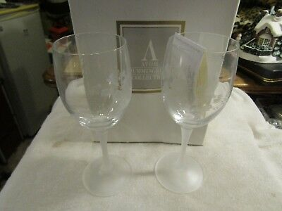 AVON HUMMINGBIRD Wine Glass Set Lead Etched Crystal New In Box NIB