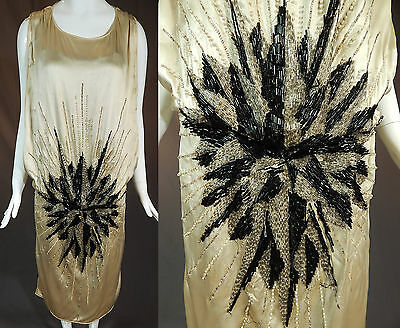 Vintage 1920s Art Deco White Silk Silver Black Pearl Beaded Flapper Tabard Dress