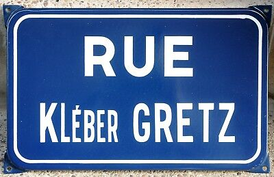 Old French enamel steel road street sign plaque name Kléber Gretz Montbéliard