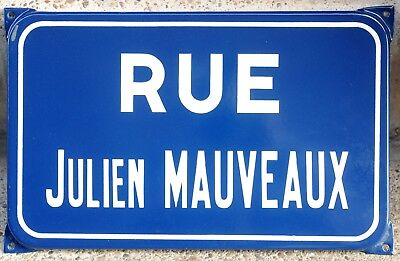 Old French enamel steel road street sign plaque name Julien Mauveaux Montbéliard