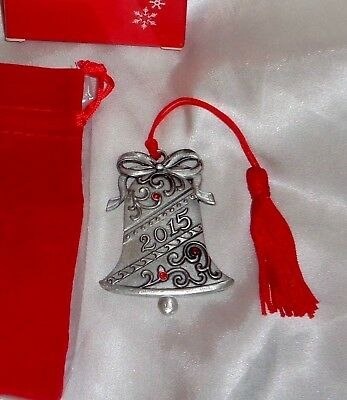 Avon 2015 Bell Pewter Ornament Collectible Rhinestones-New in Box-Free Shipping