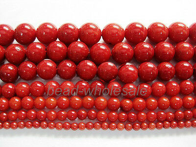 "New Red Natural Coral Gemstone Round Spacer Beads 16"" 4mm 6mm 8mm 10mm 12mm"