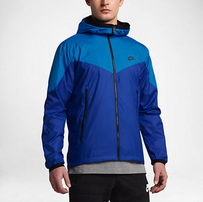 8ac982d4125d Nike Men s Windrunner Packable Jacket Blue Black M Full Zip Hoodie Casual  New
