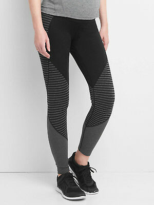 Gap Maternity gFast Full Panel Stripe-Block Leggings Black / Grey ~ Size XL