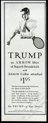 1928 Trump shirt by Arrow tennis playing man art vintage print ad