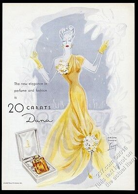 1946 Dana 20 Carats perfume bottle and elegant woman art vintage print ad