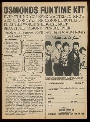 1972 The Osmonds brothers photo 'Funtime Kit' vintage print ad