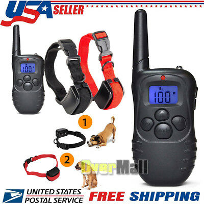 Pet Dog Training Collar 330Yard Rechargeable Electric LCD 100LV Shock For 2 Dogs