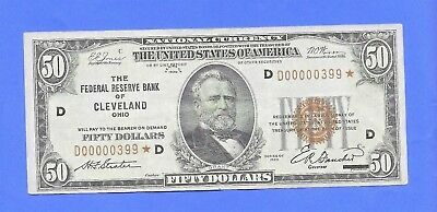 1929 $50 National Currency Frn Cleveland Low Serial # Star Note Fr # 1880-D