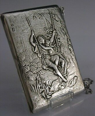 Stunning English Antique Solid Sterling Silver Art Nouveau Card Case 1902