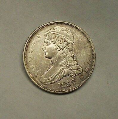 """~~~  """"reeded Edge""""  1837 Capped Bust Silver Half Dollar  ~~~"""