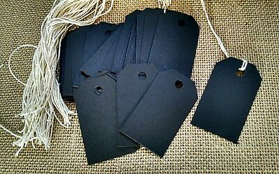 50 black chalkboard card stock price tags, gift tags, bag tags