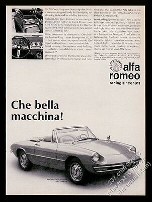 1967 Alfa Romeo Duetto Spider car photo vintage print ad