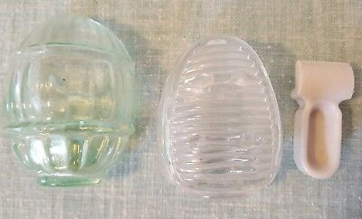 3 Vintage GLASS AND PORCELAIN Bird Wire Cage Feeder Seed Water Cup 1 Green