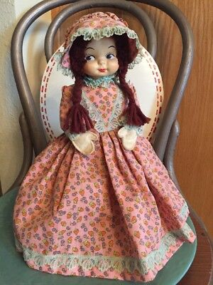 Vintage Dish Soap Bottle Country Girl Doll With Bonnet - Hand Crafted- 12""