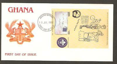 GHANA 1991 17th World Jamboree Korea BOY SCOUTS Bicycle STAMP ON STAMP IMPERF