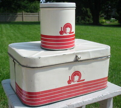 Vtg Antique Tin Metal Canister & Bread Box Retro Red Coffee Pot Stripes Old Deco