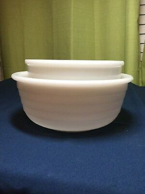 VINTAGE 1940s GE GENERAL ELECTRIC MIXER MILK GLASS BOWLS-LARGE & SMALL