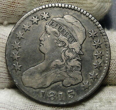 1813 Capped Bust Half Dollar 50 Cents - Nice Coin, Free Shipping (5973)