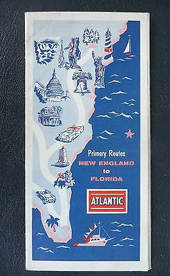 1957 New England to Florida road map booklet Atlantic gas oil service station mk