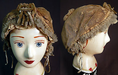 Victorian Cream Tulle Net Lace Blue Silk Chenille Trim Bed Cap Bonnet Hat Vtg