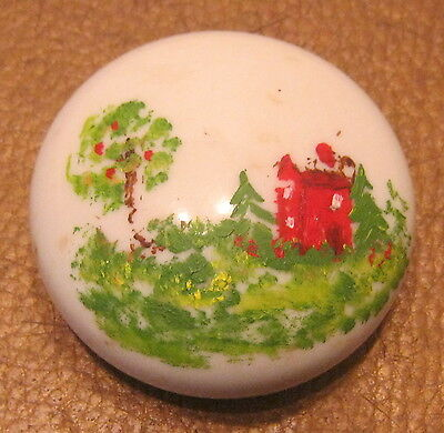 Antique Hand Painted Milk Glass PAPERWEIGHT Great Americana Piece!!!!