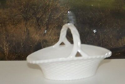 Crown Staffordshire China White Basket Weave Oval Basket