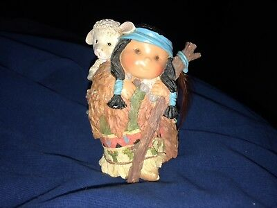 Enesco Friends Of The Feather Native American Figurine~Children-Boy With Lamb