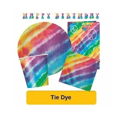 TIE DYE Birthday Party Range - Tableware, Banners, Balloons & Decorations (1C)
