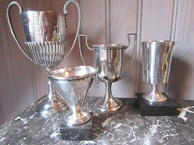 VERY DECORATIVE LOT OF ANTIQUE SILVER SPORTS THOPHIES EARLY XX th. C.