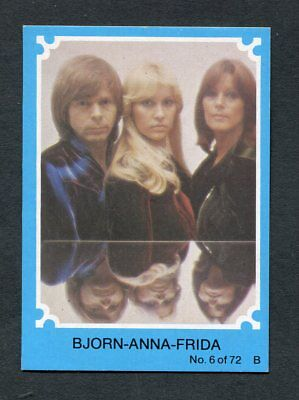 "Scanlens Gum 1976 ""abba - #6 Bjorn-Anna-Frida"" Blue Trade Card"